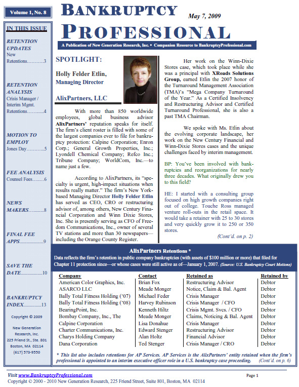 Introduction to the Bankruptcy Professional Newsletter